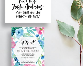 floral watercolor invitations // bridal shower party invites // pink blue watercolor flowers // calligraphy // printable custom invite