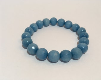 Semi precious beads bracelet faceted, light blue jade (10 mm)