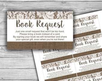 Burlap and Lace - Baby Shower - Book Request - Cards - PRINTABLE - INSTANT DOWNLOAD - Please Bring A Book - Rustic - 084