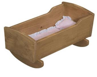 Amish-Made Wooden Deluxe Doll Cradle, Natural Harvest Finish