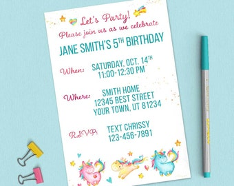 Unicorn  Party Birthday Invitation; Custom Birthday Invitation, Birthday Invite, Girls Birthday
