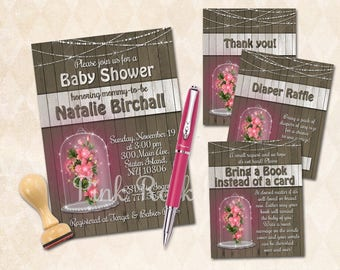 Rustic baby shower printable invitation set girl invite with inserts digital pink bouquet bring a book diaper raffle ticket thank you card