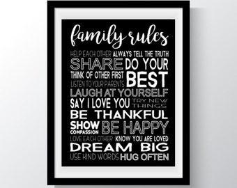 Family Rules Print, Family Rules Printable, House Rules,  Typography Poster, Black and White Print, Family Rules Sign, Poster, Inspiration