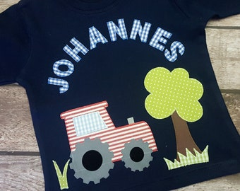 Long sleeve shirt small tractor with name