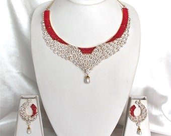 Cubic Zirconia and Ruby High Neck Choker Bridal Necklace Set / Cz Bridal Jewelry /  Floral Pattern Cz Jewelry Set / Gift For Her