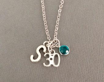 30th birthday gift for her, Swarovski birthstone personalised 30th birthday necklace, 30th birthday present, 30 jewellery, jewelry