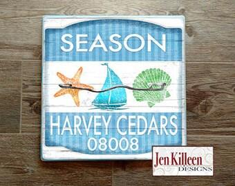 "Jersey Shore ""Harvey Cedars""  Beach Badge Wood Sign // Jersey Shore Art // NJ // Beach Decor // Town Signs // Beach House Sign // Beach Tag"