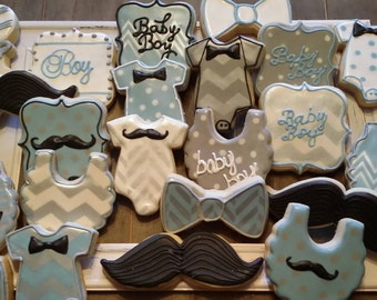 Baby Boy Mustache and Chevron - One Dozen