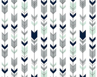 Changing pad cover, Boy Changing pad cover, mint and gray falling arrows on white, navy, boy nursery, boy bedding, baby boy, woodland
