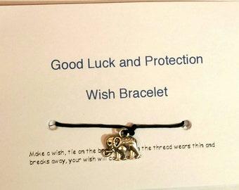Elephant Wish Bracelet, Goodluck Bracelet - Protection Bracelet - Friendship Bracelet Wishstring Bracelet - Inspirational Bracelet