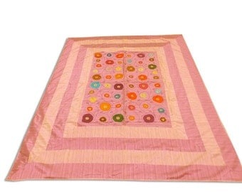 Indian Silk Embroidery Floral Design Pink Color Double Bed Cover 260x240 CM