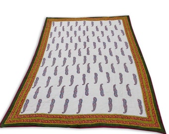 Double Bed Hand Block Printed White Color Quilt in Floral Design Size 90x108 Inch