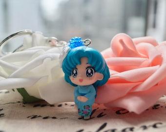 Sailor Moon, Sailormoon, Kawaii,  Mercury, Japanese Kimono, Keychain Charm With Crystal And Heart Pom Pom