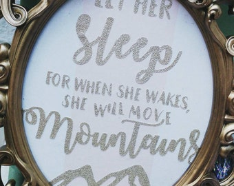 Bedroom quote frame, Perfect nursery or teen decor, Pretty pink, cream, gold. Motivational, Move mountains, Sleep. Ornate, Print, wall art.