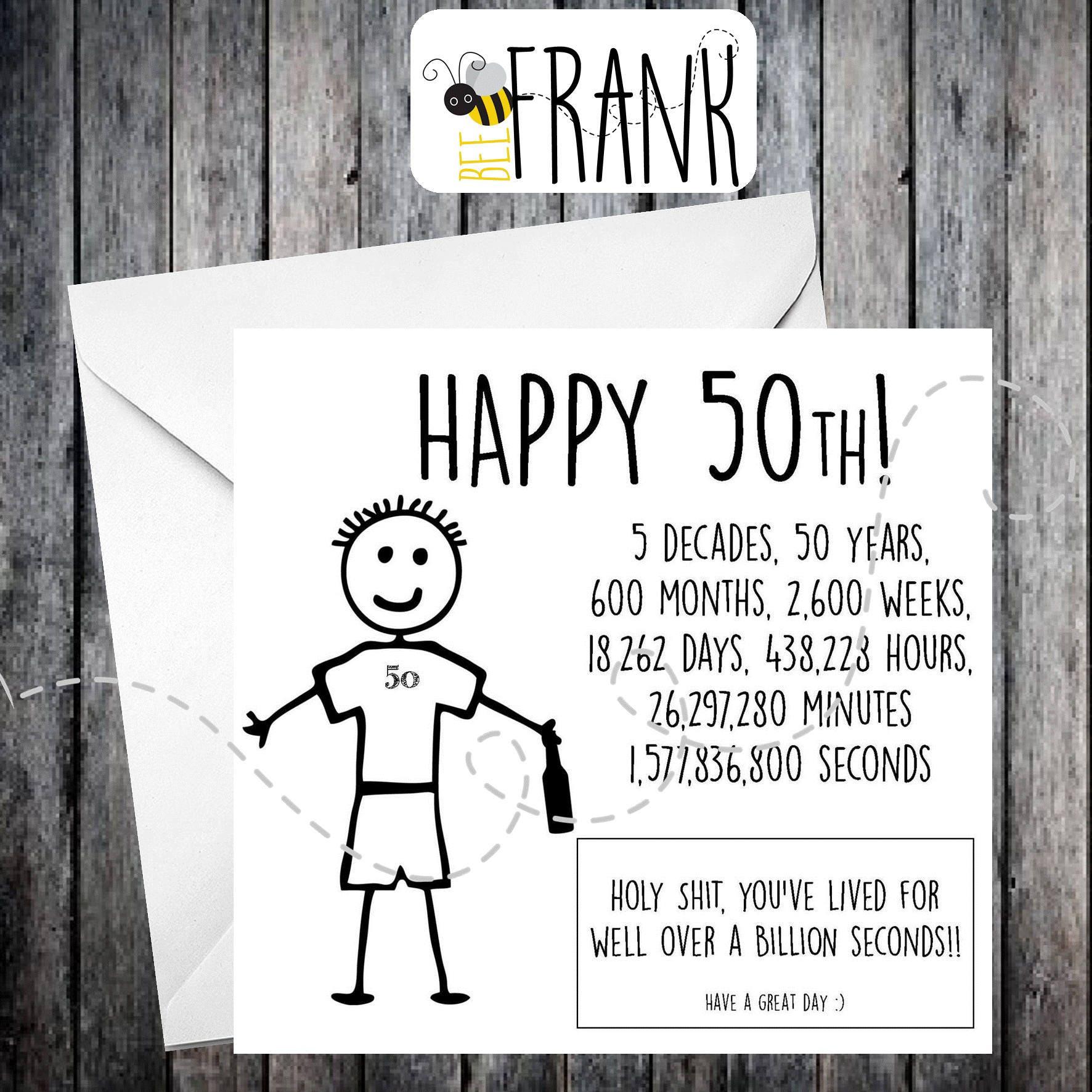 Funny Rude Alternative Sarcastic BIRTHDAY Card. 50th
