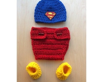 Crochet newborn superman outfit superman hat and diaper cover superman socks photo prop