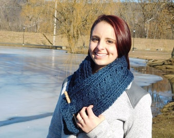 Denim and Navy Cowl/Scarf
