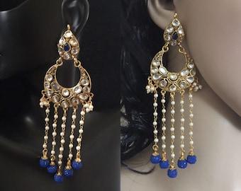 Long kundan chand bali statement Earrings/indian jewelry/bollywood/antique chandelier/pearl statement earrings/jhumka/bridal/wedding