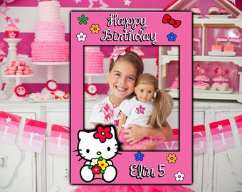 Hello Kitty Party Photo Booth Prop Childs Photo Frame, Hello Kitty Personalised Frame, Frames, Photo Props, Instagram Style Frames Active