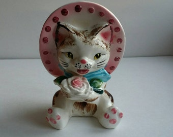 Vintage Lefton Cat with Bonnet and Flower Ceramic Planter