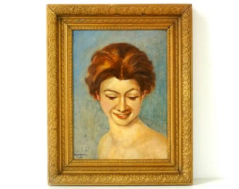 Smiling Woman Portrait - Vintage 1940's Original Oil Painting - Signed & Dated - Antique Ornate Gold Frame - Vintage Portrait