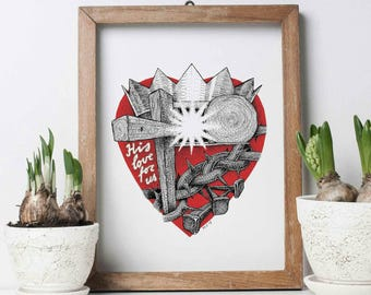 Poster, art print ' His love for us ', red, Easter.
