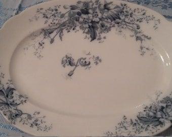 Grindley England late  1800's vintage Flow Blue ironstone platter