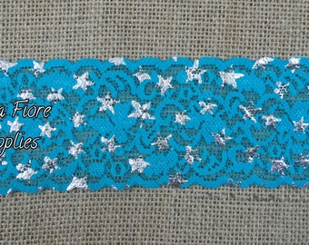Silver Stars Stretch Lace Trim- 2.5 inch lace trim- Turquoise Stretch Lace Trim- Wholesale Lace- DIY Headband