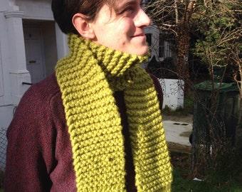 Handmade thick warm pea-green scarf