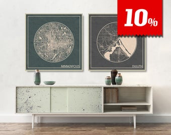 2 SQUARE Maps of Minnesota With 10% Largest Cities Discount Minneapolis Duluth City Maps printed on canvas Maps ArchTravel