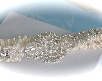 Jeweled wedding garter,  Ivory wedding garter,  Garters