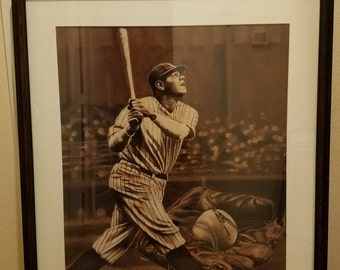 L@@K! MLB Babe Ruth Home Run Painting Art Signed by Artist Tom Robb
