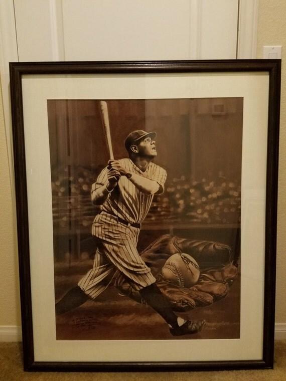 Lk Mlb Babe Ruth Home Run Painting Art Signed By Artist Tom