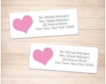 """Printable Pink Heart Address Labels - Gray Pink Personalized 2 5/8"""" x 1"""" Address Labels DIY Editable PDF - Instant Download"""