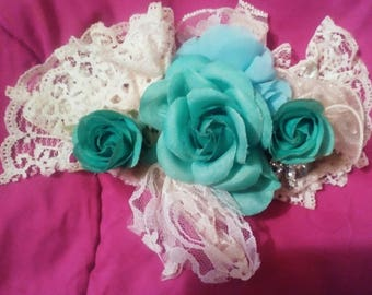 Blue rose and lace hair fascinator