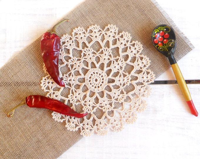 7 inch Crochet Beige Doily, Handmade Round Cotton Doily, Vintage Style Crochet Doily, Beige Home Decor, Beige Table Setting, Gift for Her