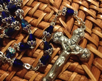 Blue Cobalt and AB glass beads Rosary from Italy with hearts