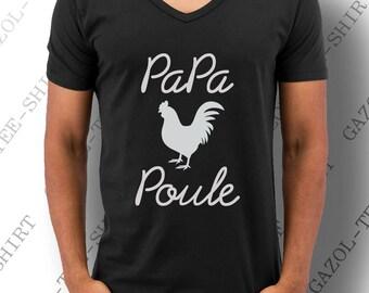 """Idée cadeau fête des pères T-shirt """"Papa Poule."""" Col V. Coloris: Bleu marine, noir, gris clair."""