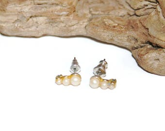 Small Dainty Pearl Earrings, Gold Tone and Faux Pearl Costume Jewelry, Fashion Jewelry, Small Studs, Small Ear Climbers, High Fashion