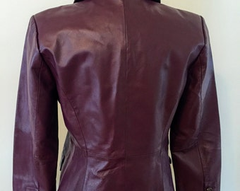 1980s Plum Leather Jacket by Terry Lewis Classic Luxuries | Vintage Leather | Purple Leather