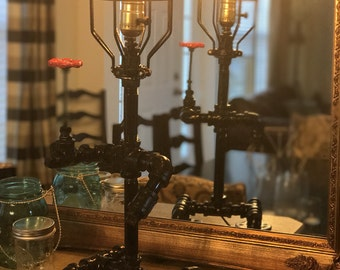 Custom Pipe lamp with a rose