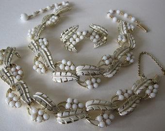 Jewelcraft vintage parure set, Jewelcraft vintage jewelry set, 1960s Jewelcraft necklace bracelet earring set, Vintage wedding jewelry