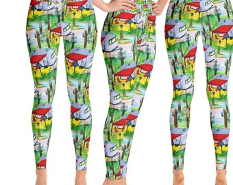 Camper air stream retro camping by the lake  yoga pants and leggings from my art