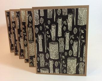 Set of 6 handmade blank notes cards black white tree trunks