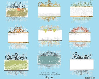 Label ClipArt Vintage Flower Label PNG transparent Scrapbooking Clipart Personal and Commercial use Instant Download (CA07)