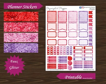 Faux Glitter Functional Planner Stickers Erin Condren Planner Half Full Box Flag Headers Red Pink Purple  Printable Instant Download #P020