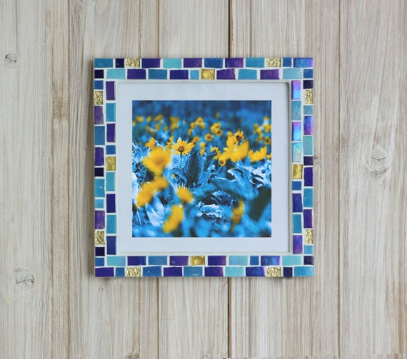 7x7 frame mosaic wall photo frame blue frame photo frame 7x7 picture frame 7x7 blue frames blue picture frame mosaic art from martelmosaic on - Mosaic Frames