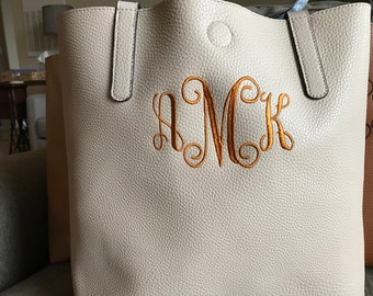 Monogram tote, personalized tote bag, Bridesmaids gift, Mother's Day, Soroity gift, leather bag, Graduation gift, personalized tote