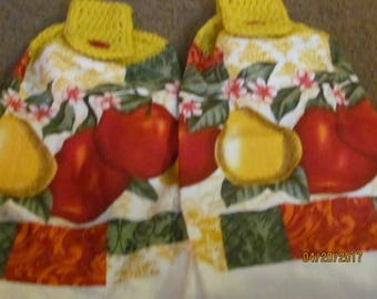 2 Crochet top towels Apples and Pears