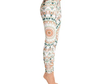 Mandala Print Leggings - Stretchy Yoga Pants, Orange and Green Bohemian Leggings, Pattern Tights